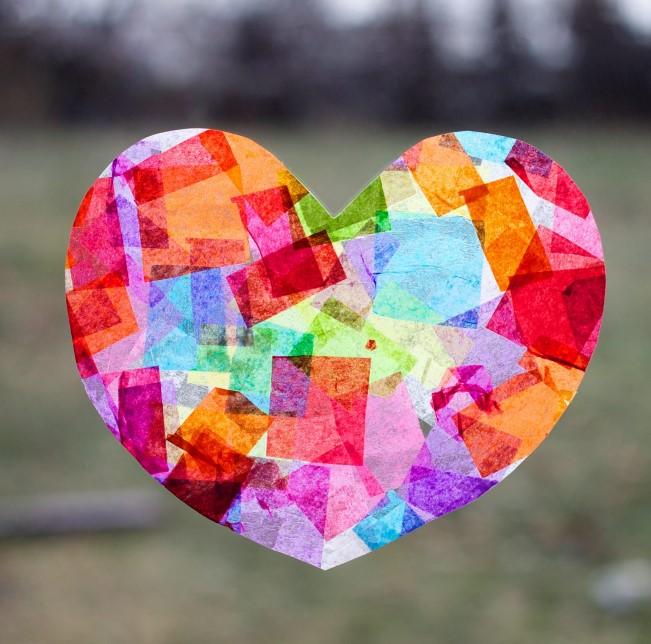 DIY Craft Heart Suncatcher