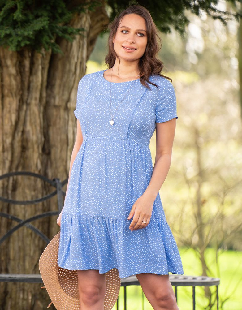 Seraphine Blue Dot Tiered Maternity And Nursing Dress